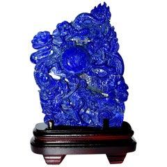 Lapis Lazuli Dragons Statue, 4.6 Lb, Finest Grade