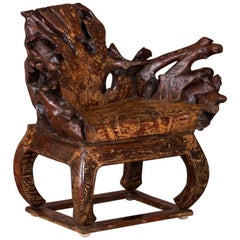Dramatic Vintage Root Wood Chair with Live Edge
