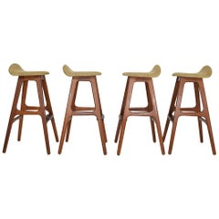 Four Bar Stools, Model OD61, Designed by Erik Buch and Manufactured by Odense