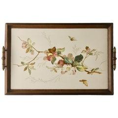 Antikes Tablett mit Jugendstil Fliesen Panel mit Blumen Dekoration Handbemalt