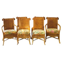 Superb Set of Six Vintage Rattan and Cane Dining Chairs