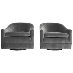 Harvey Probber Gray Velvet Swivel Lounge Chairs, Pair