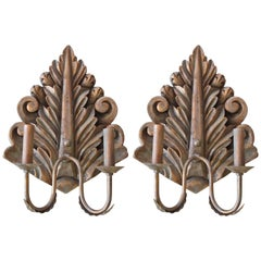 Pair of Hand Carved Copper Verde Double Arm Sconces