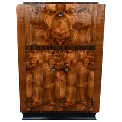 Art Deco English Walnut Cocktail Cabinet, circa 1930