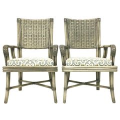 21st Century Pair of Rattan Upholstered Armchairs by, David Francis