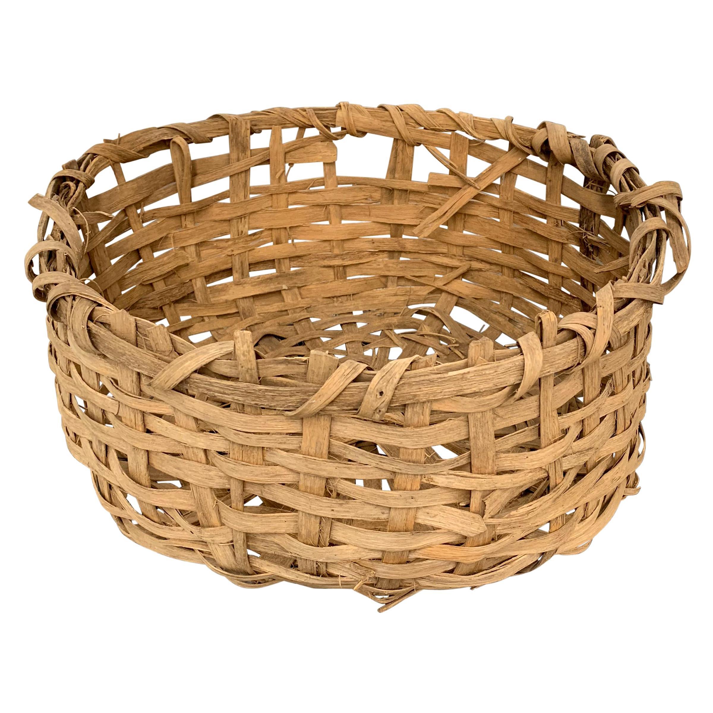 Early 20th Century Primitive Splint Basket