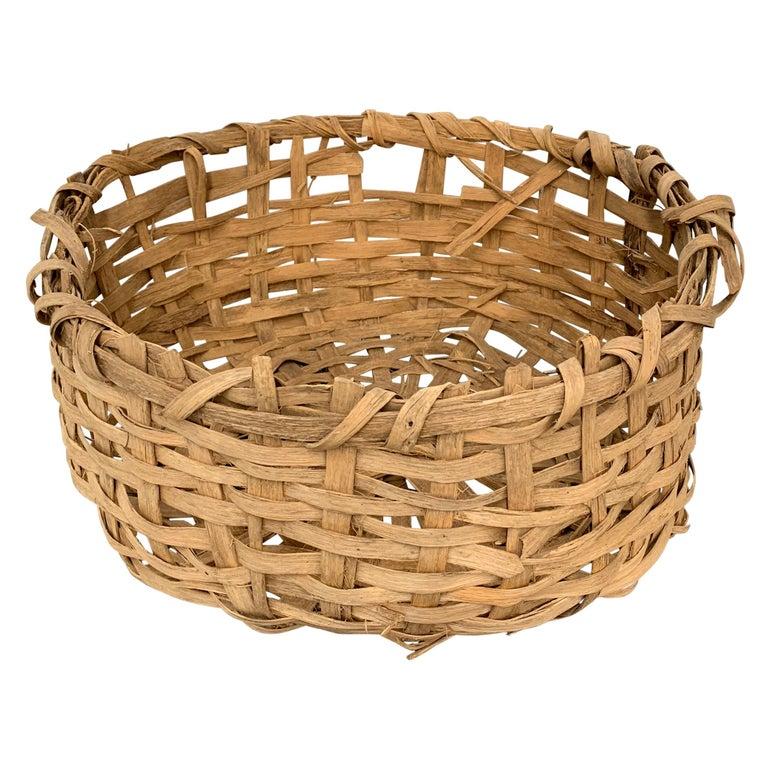 Early 20th Century Primitive Splint Basket For Sale