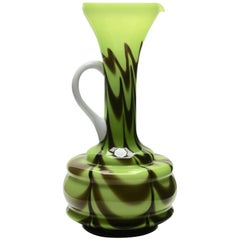 Murano Opalescent Green and White Handle Italian Opaline Florence Pitcher