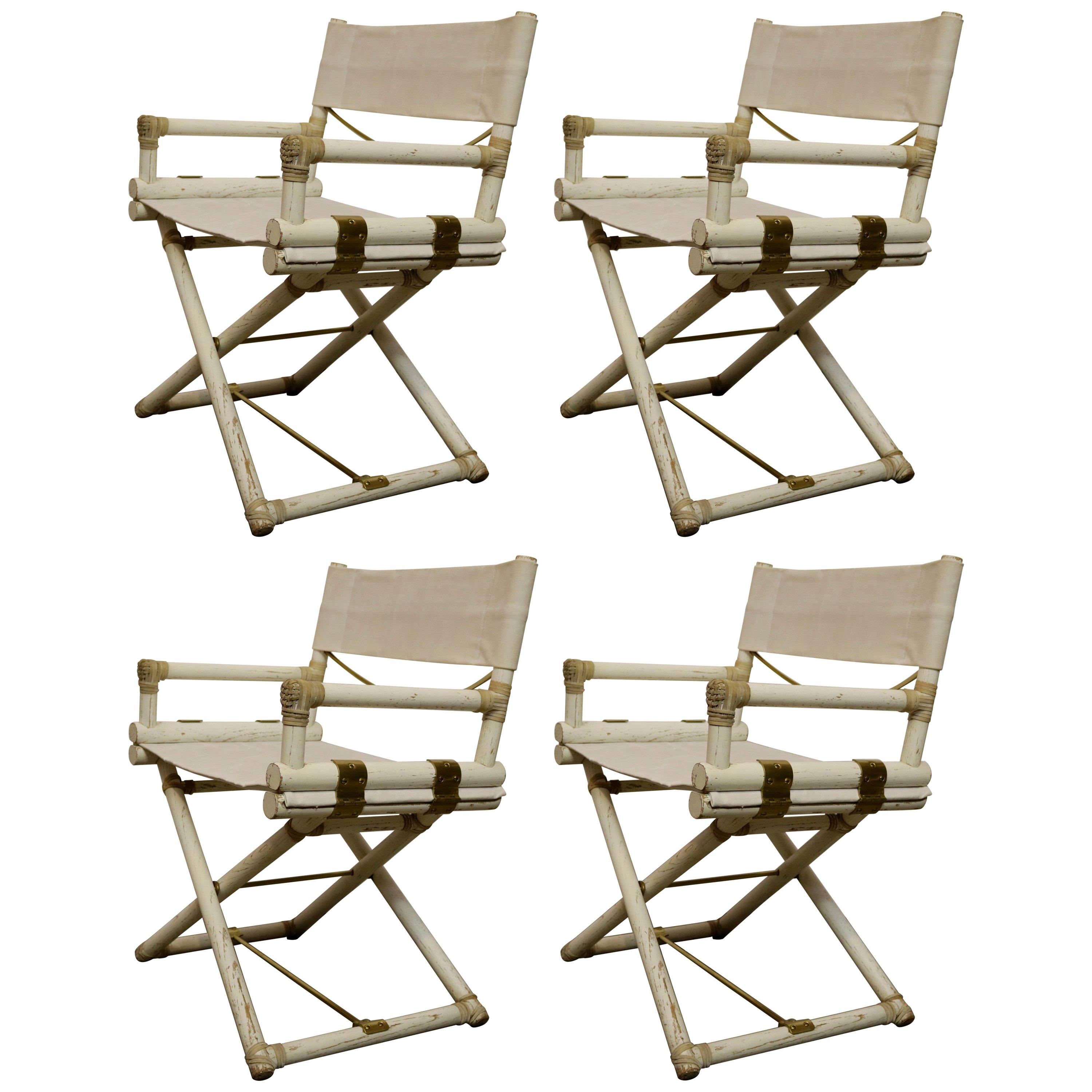 Set Of Four Vintage Directors Chairs By John McGuire For Sale