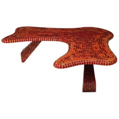 Vintage Freeform Red Mosaic Tile Coffee Table