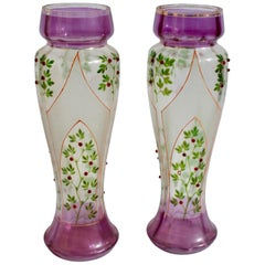 Art Nouveau Glass Decorative Vases with Stained-Glass Decorations