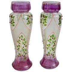 Jugendstil Glas Deko-Vasen mit Buntglas-Dekorationen