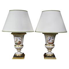 Pair of Paris Porcelain Urn Form Table Lamps