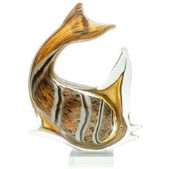 Murano Sommerso Gold Flecks Italienische Kunstglas Fisch-Figur