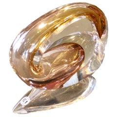 Modern Sculpture by Alfred Collard Val Saint Lambert Studio Glass, Signed Unica