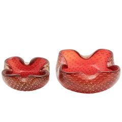 Archimede Seguso Cranberry-Rote Schalen mit Blasen und Gold-Einschlüssen