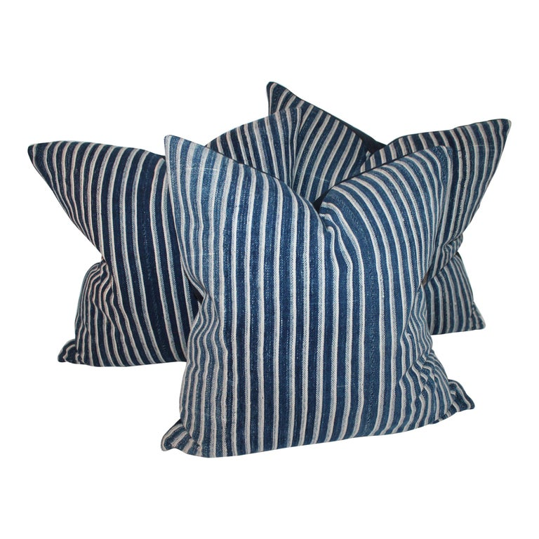 Indigo Blue and White Striped Linen Pillows For Sale