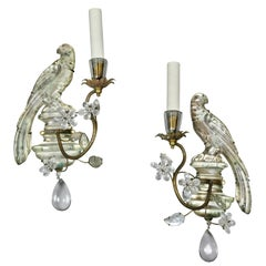 Pair of Bagues Crystal and Gilt Metal Sconces