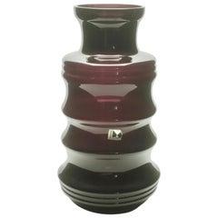 Vintage Ingrid Kristallglas Vase, Deutschland, Schöne Farbe, Dunkles Bordeaux, 1960er Jahre