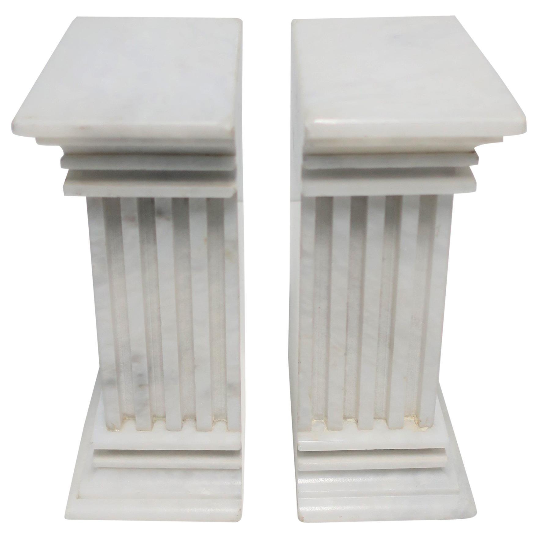 Italian White Marble Column Bookends