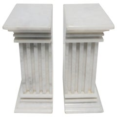 Pair of Italian White Marble Column Bookends