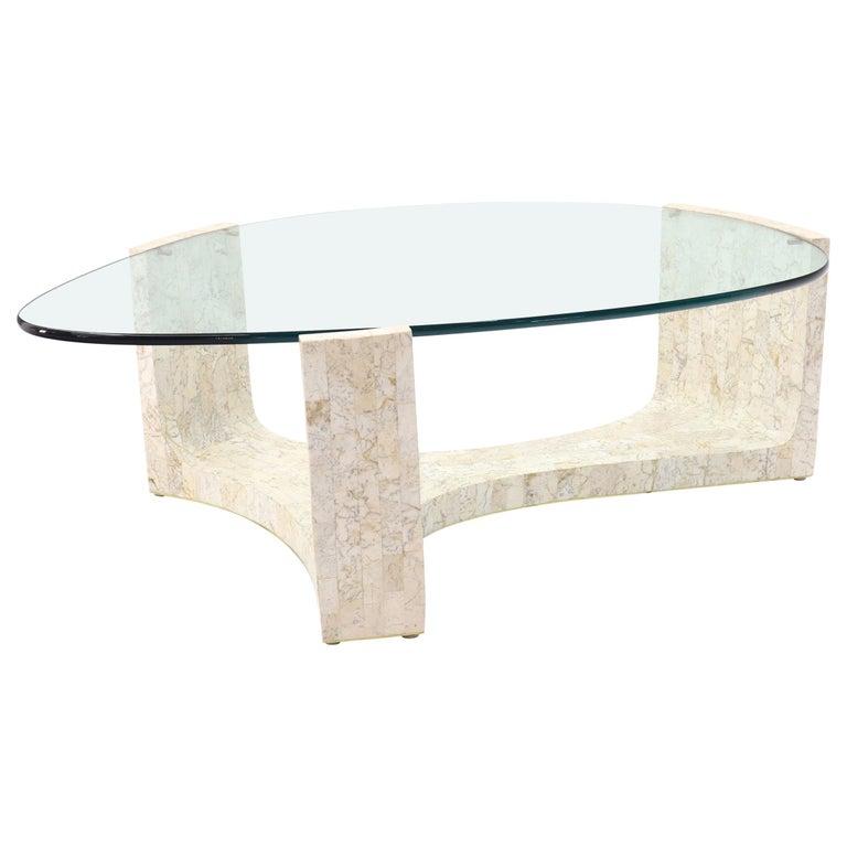 Marble Kidney Coffee Table: Tessellated Stone Veneer Tile Organic Kidney Shape Coffee