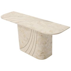 Tessellated Stone Veneer Tile Brass Inlay Pedestal Base Console Sofa Table