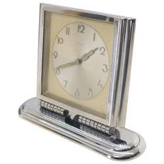Folding Swivel Base Art Deco Polished Chrome Travel Table Desk Clock Kienzle