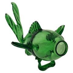 Blown Green Glass Fish