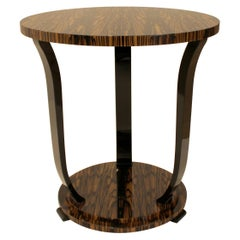 Modernist series Round side table in White Ebony Macassar Veneer