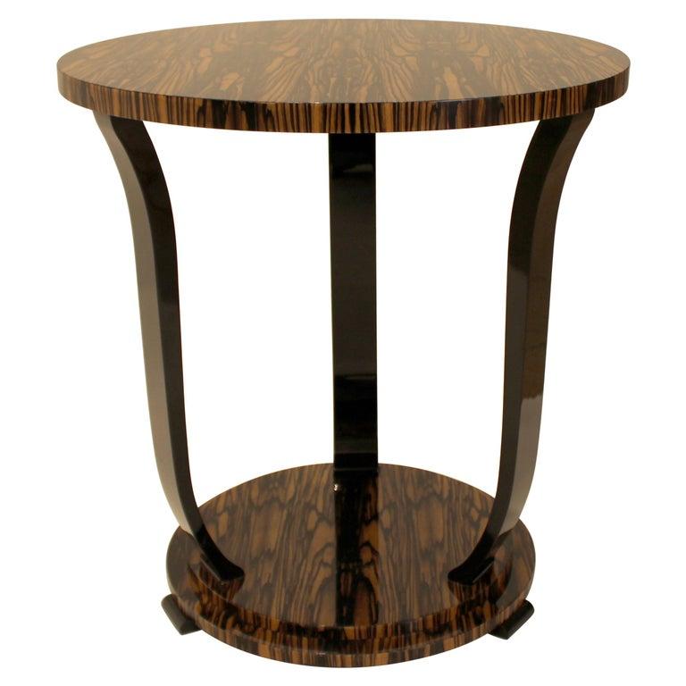 Modernist series Round side table in White Ebony Macassar Veneer For Sale