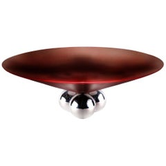 Brueton Bocci Coffee Table Cordovan Leather Floating Steel Orbs 1980s Memphis