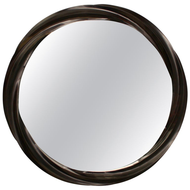 Wave series mirror in hard maple with satin brown varnish For Sale