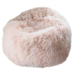 Pink Kids Size Mongolian Sheepskin Bean Bag Chair, Made in Australia