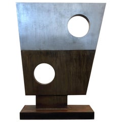 Modern Steel Sculpture in the Style of Barbara Hepworth