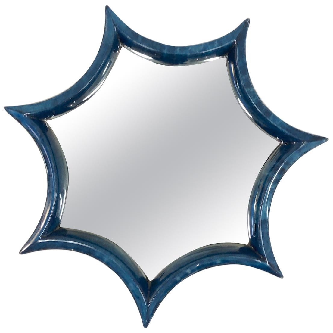 Dark Blue Goatskin Wall Mirror
