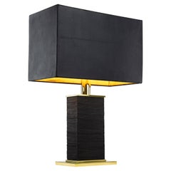 Stacked Monolith Table Lamp in Leather, Brass and 24-Karat Gold