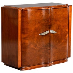 French Art Deco Walnut Bar Cabinet