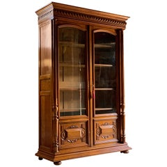 Antique Bookcase Vitrine French Solid Walnut 19th Century, circa 1890 Number 3