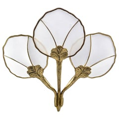 Hollywood Regency Large Brass and Mesh Water Lily Wall Sconce