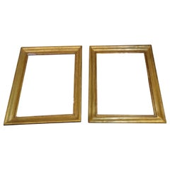 18th Century Pair of Identical Frames Gilded in Pure Gold Leaf