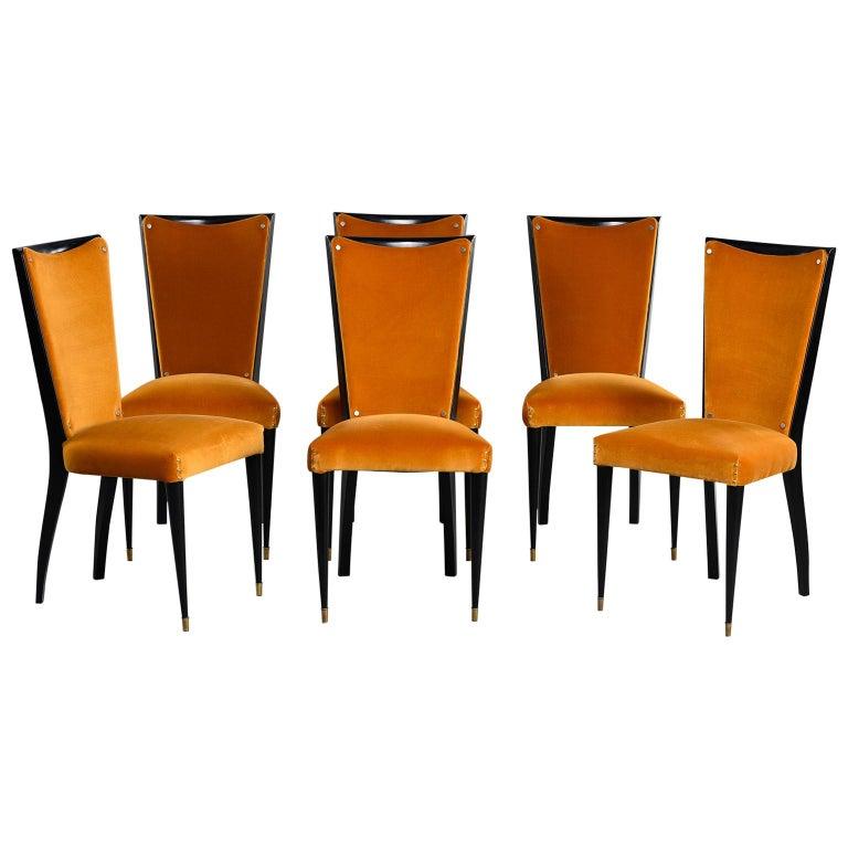 Set of 6 Ebonised Art Deco Chairs with Poppy Gold Velvet Upholstery For Sale