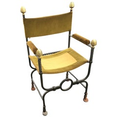 Flemish Curule Armchair in Iron, Brass and Velvet, circa 1900