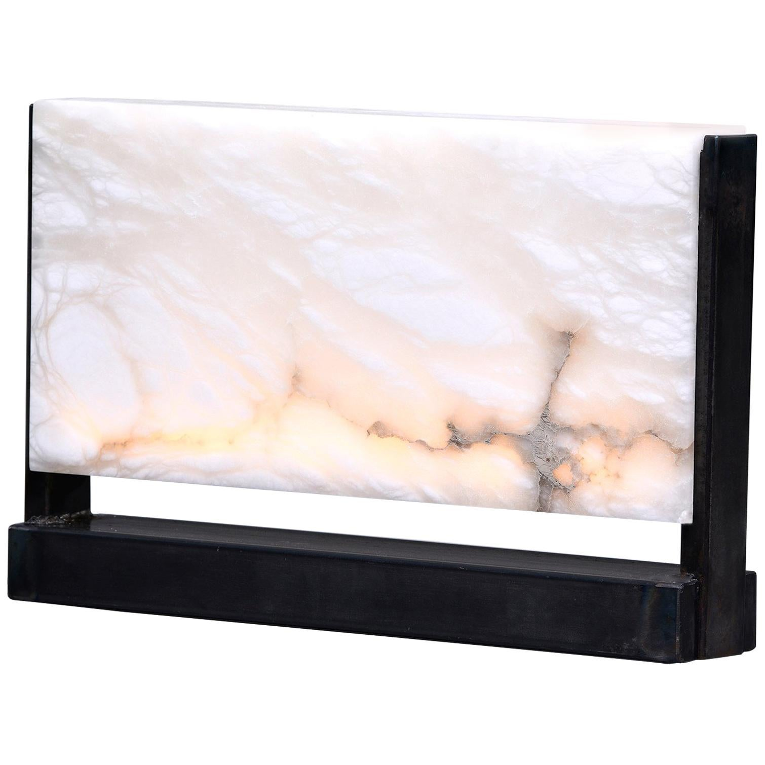 New Hand Carved Italian Alabaster Rectangular LED Table Lamp