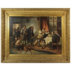 Large Biedermeier Oil Painting by Joseph Haier, Austria, 1840