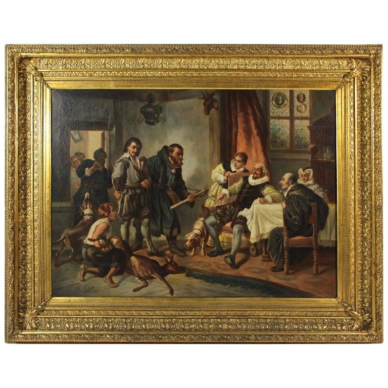 Large Biedermeier Oil Painting by Joseph Haier, Austria, 1840 For Sale