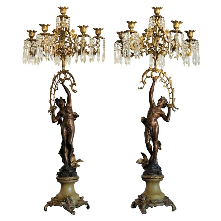 19th Century Pair of French Figurines Patinated and Doré Bronze Candelabra 1