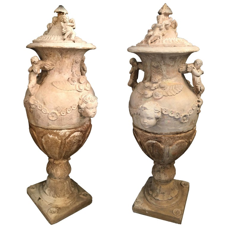 Pair of Old Italian Stone Garden Vases. Florence, Late of 18th Century For Sale