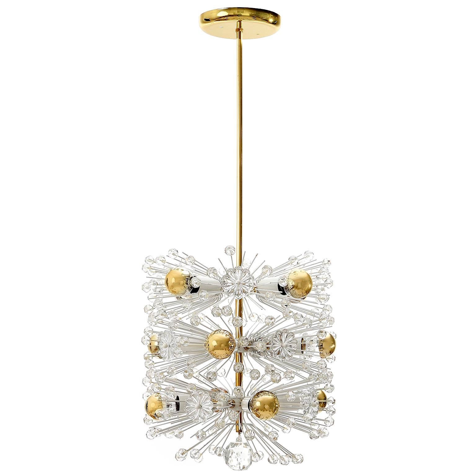 Emil Stejnar Pendant Light Chandeliers Brass Cut Glass, Austria, 1950s, 1 of 3