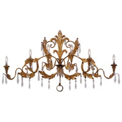 Gilt Tone Sconce, Large 120cm and 6 Lights with Crystals, circa 1950s, Italian